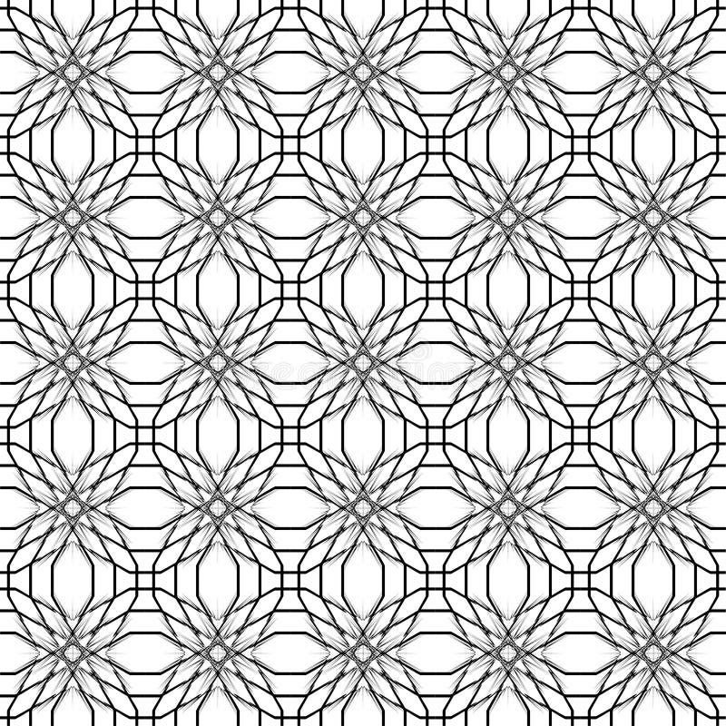Abstract geometrisch naadloos patroon Zwart-wit stijlpatroon met cirkel royalty-vrije illustratie