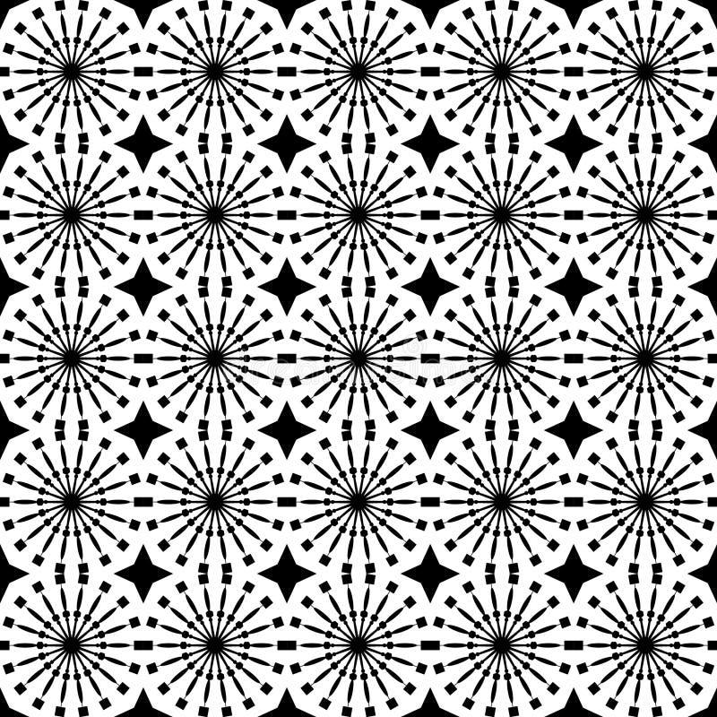 Abstract geometrisch naadloos patroon Zwart-wit stijlpatroon met cirkel en lijn vector illustratie