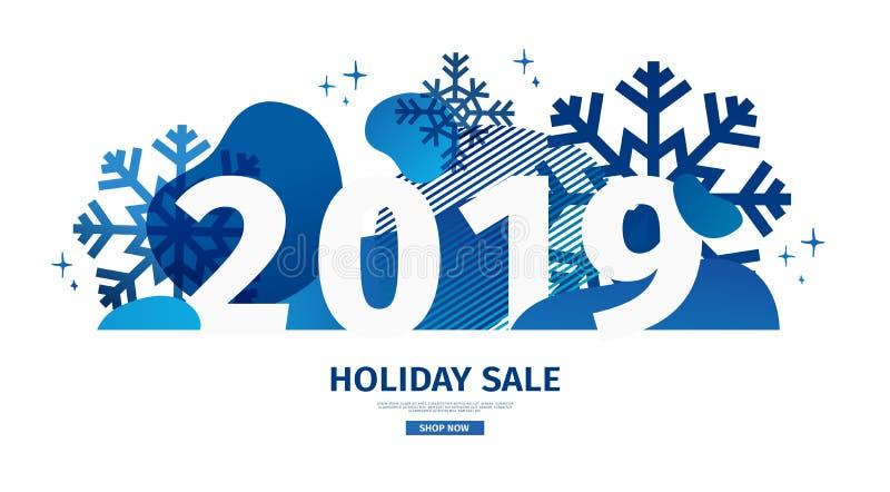 Abstract geometrisch ontwerp voor het gelukkige nieuwe jaar 2019 De banner van de nieuwjaaraanbieding met vector vloeibaar vorm e royalty-vrije illustratie
