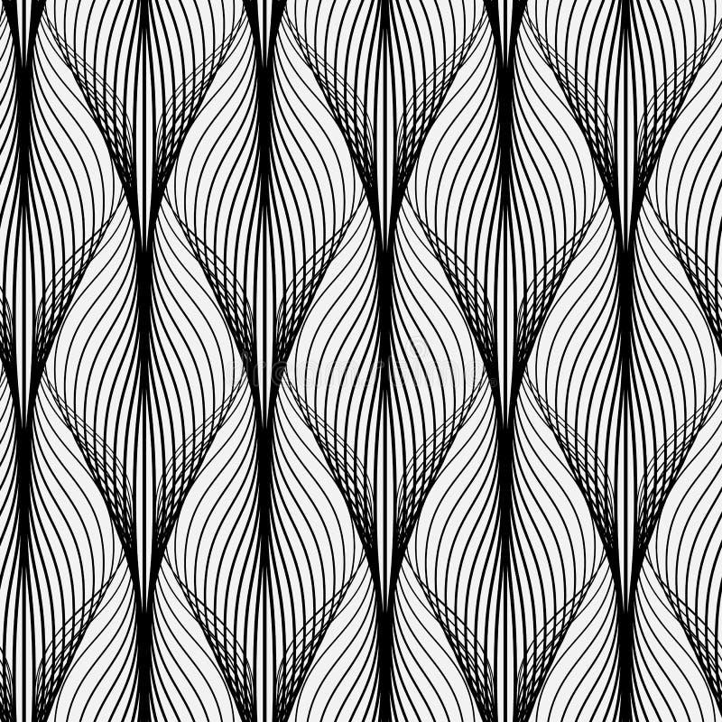 Abstract geometrisch patroon met golvende lijnen Naadloze Achtergrond Zwart-wit ornament royalty-vrije illustratie