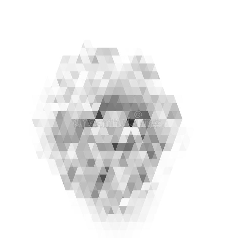 Abstract geometrisch patroon op witte achtergrond Grijs gebrandschilderd glaspatroon stock illustratie