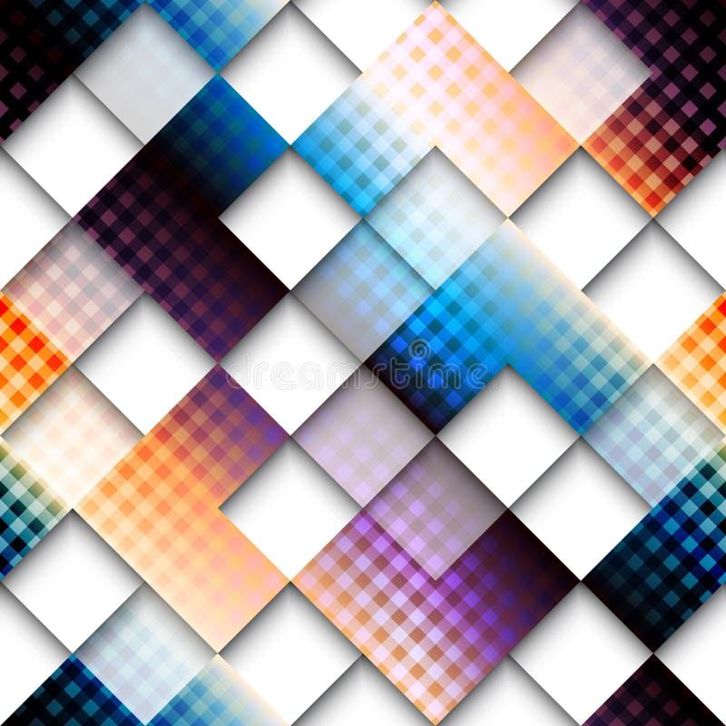 Abstract geometrisch patroon van vierkanten met plaid royalty-vrije illustratie