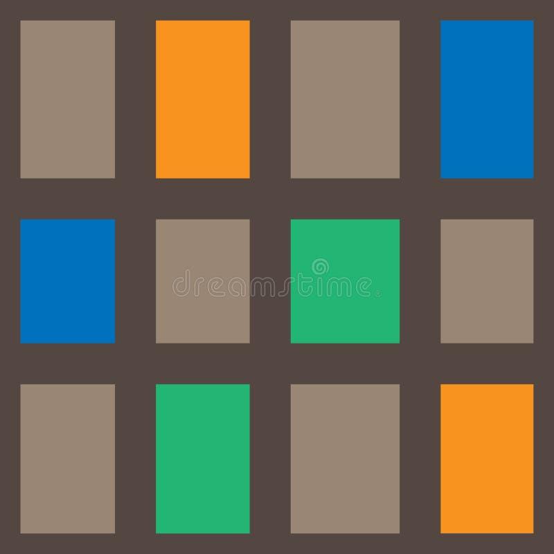 Abstract geometrisch rechthoekig patroon met bruine, oranje, groene en oranje kleurenvector vector illustratie