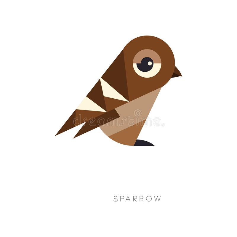 Abstract geometrisch symbool van bruine mus Silhouet van kleine passerinevogel Vlak vectorelement voor embleem, druk stock illustratie