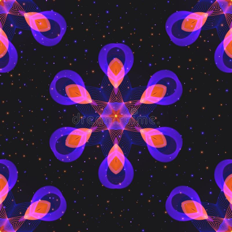 Abstract Geometrisch Symmetrisch Naadloos Hexagonaal Patroon van Neon stock illustratie