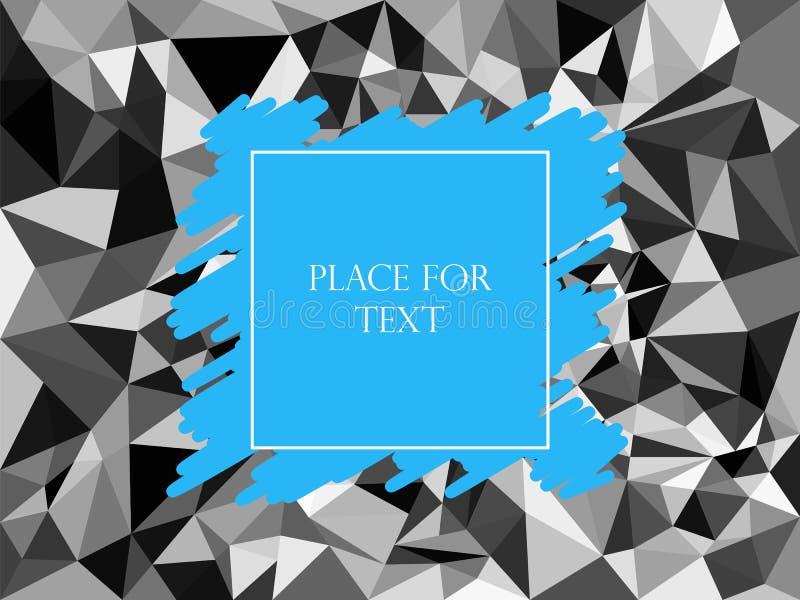 Abstract geometrisch veelhoekig grijs textuurmozaïek, Driehoeken Het uitbroeden blauw, tekst, banner Vector illustratie Achtergro stock illustratie