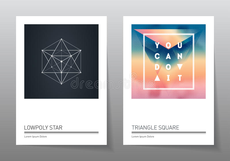 Abstract geometry backgrounds set. A4 fromat, vector templates. royalty free illustration