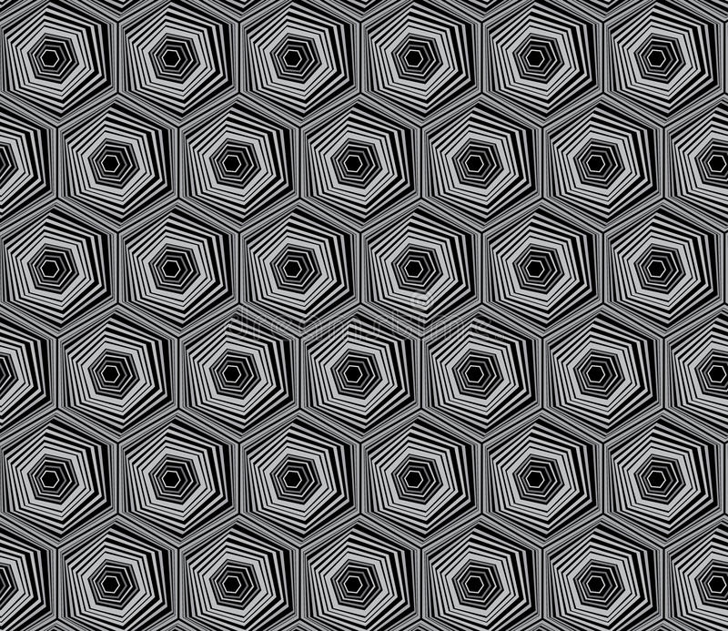 Abstract geometry black and white hipster fashion pillow hexagon pattern. stock illustration