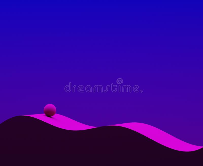 Abstract geometry composition. Wave and sphere 3d illustration. Blue and magenta. Modern design for poster, cover, branding, banne royalty free stock photos