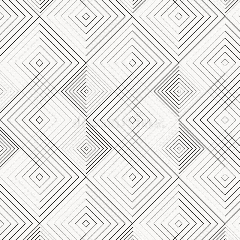Abstract geometry in diamond and squares shape in different size of line. Seamless vector background. Graphic clean for fabric, royalty free illustration