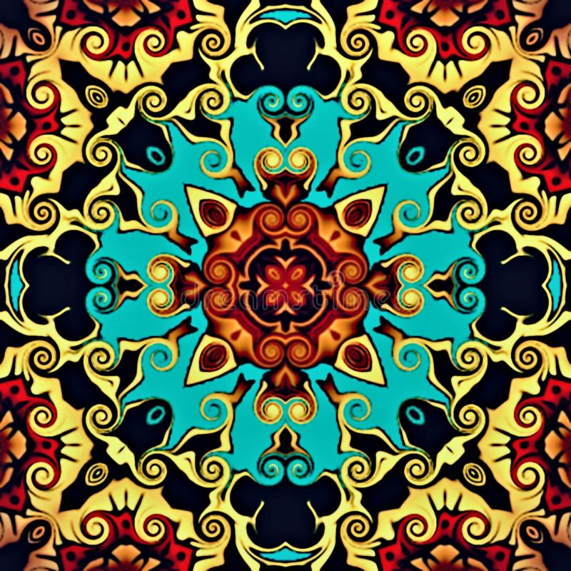 Abstract geometry of modern art. Mystical eastern mandala. floral kaleidoscope traditional design. Psychedelic symmetrical backgro. Und. Creative Print Template royalty free illustration