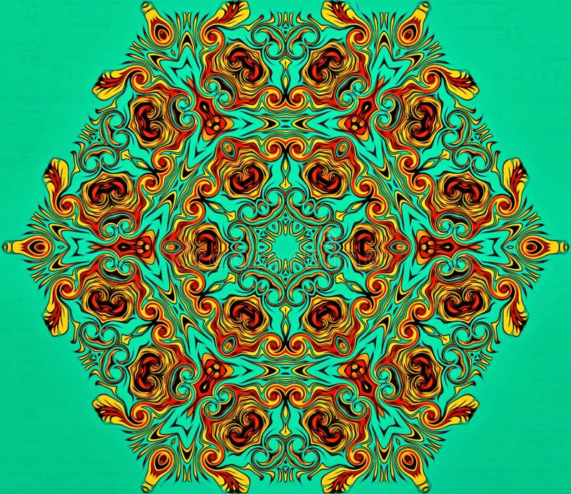 Abstract geometry of modern art. Mystical eastern mandala. floral kaleidoscope traditional design. Psychedelic symmetrical backgro royalty free stock images
