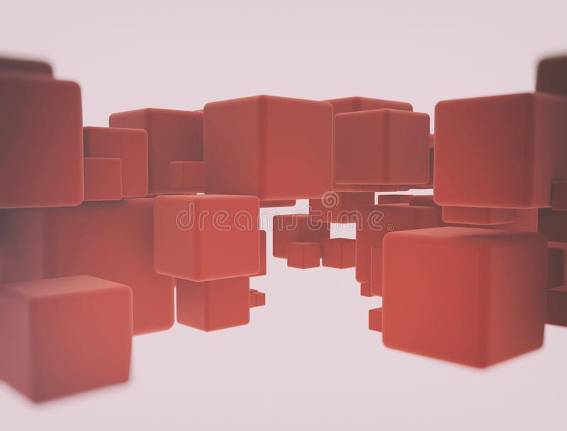 Abstract geometry red cubes royalty free stock photo