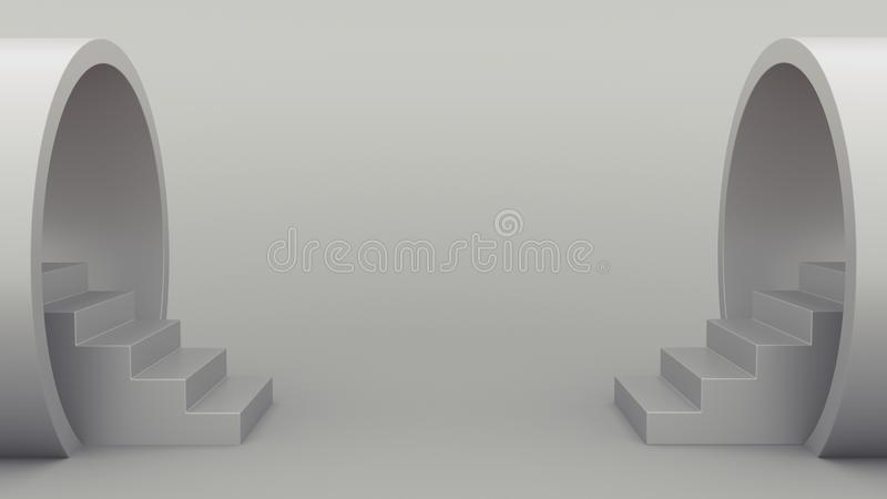 Abstract geometry. Staircase from the pipe. Gray minimalistic background. 3d illustration royalty free illustration