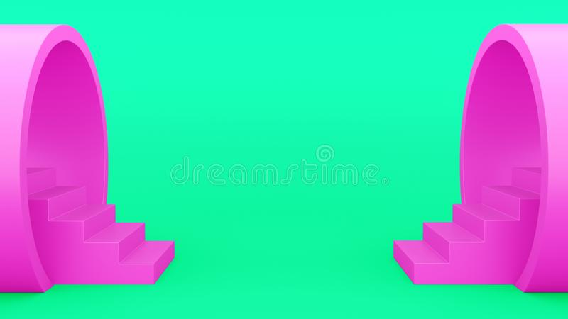 Abstract geometry. Staircase from the pipe pink. minimalistic green background. 3d illustration royalty free illustration