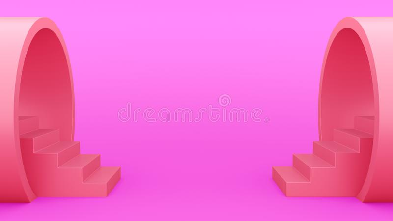 Abstract geometry. Staircase from the pipe purple. minimalistic green background. 3d illustration royalty free illustration
