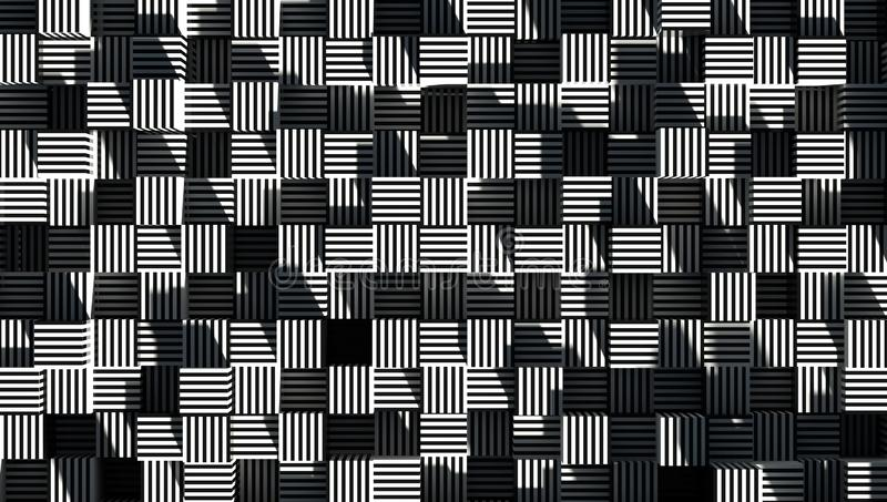Abstract Geometry Striped Cube Wallpaper 3d Render stock illustration