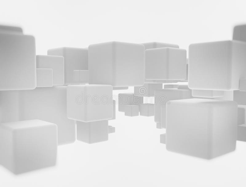 Abstract geometry white flying cubes stock photos