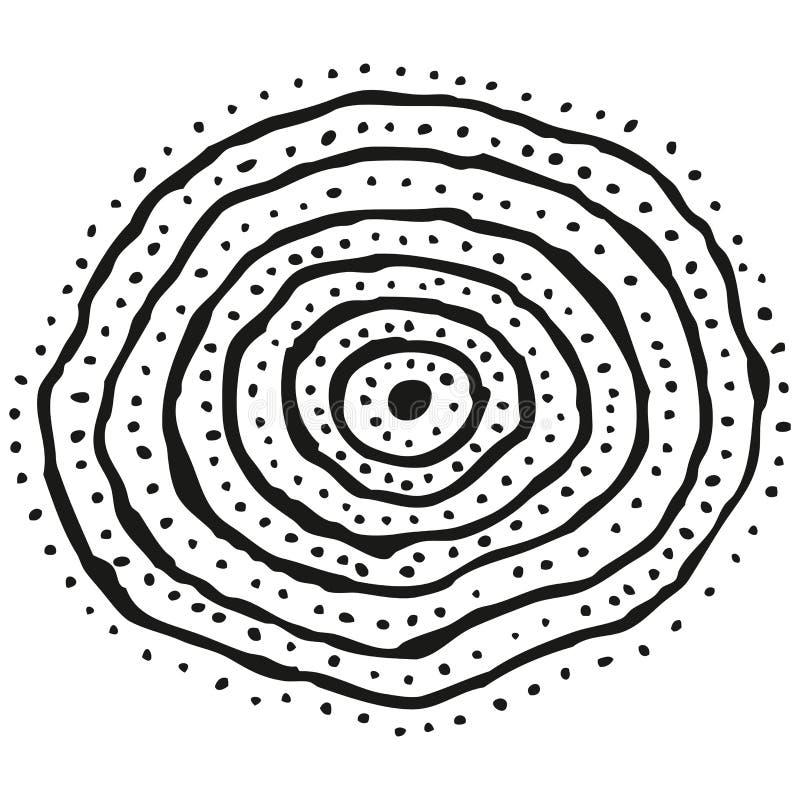 Abstract gestileerd B&W concentrisch cirkelspatroon vector illustratie