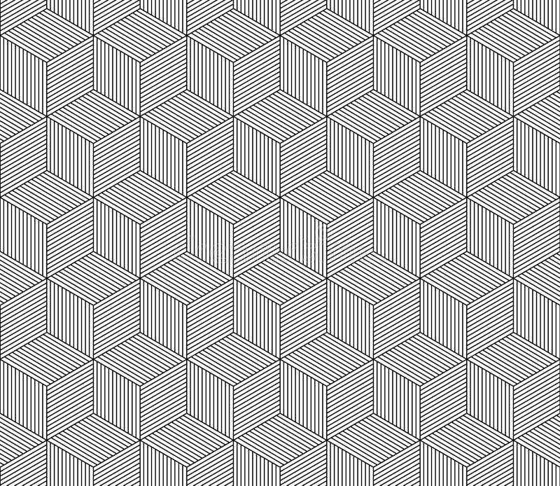 Abstract gestreept 3d kubussen geometrisch naadloos patroon in zwart-wit, vector stock illustratie