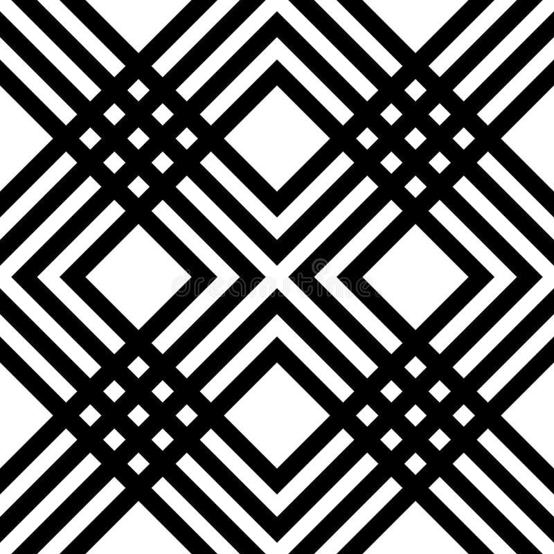 Abstract gestreept geometrisch patroon met lijnen en netten Naadloze monochromatische achtergrond in wit en zwart spectrum stock illustratie