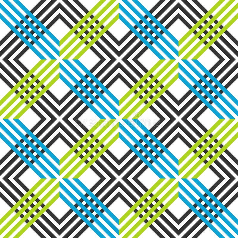 Abstract gestreept geometrisch patroon met lijnen en netten Naadloze trillende gekleurde achtergrond in donkere grijze, blauwe en stock illustratie
