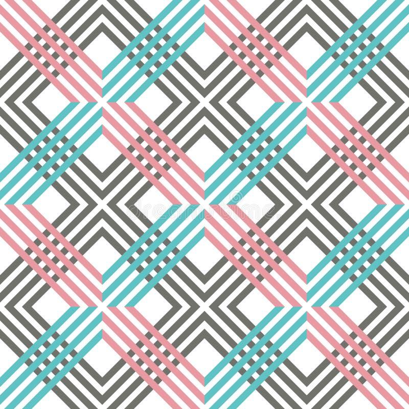 Abstract gestreept geometrisch patroon met lijnen en netten Naadloze trillende gekleurde achtergrond in roze, grijze, witte en bl royalty-vrije illustratie
