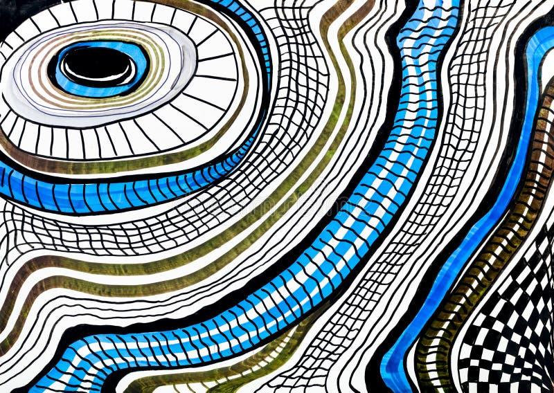 Abstract gestreept patroon door viltpennen op wit vector illustratie