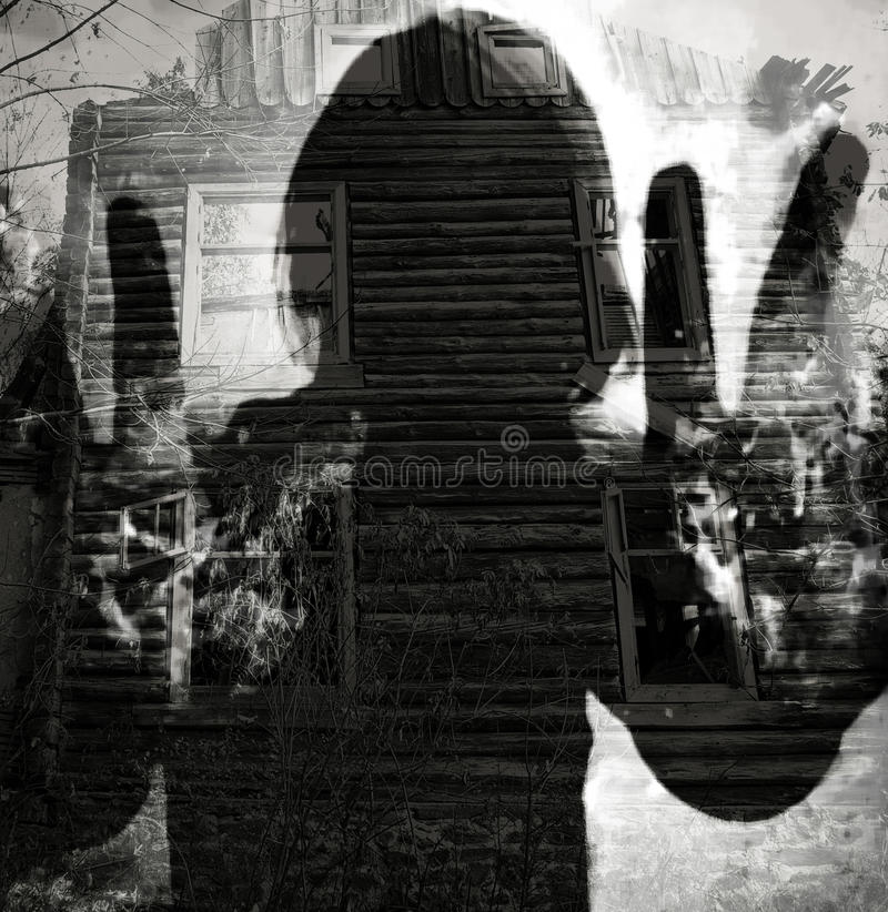 Abstract ghost. Silhouette, double exposure horor background stock image
