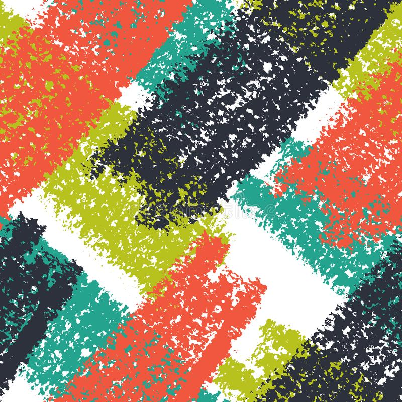 Abstract giant stroke seamless hand drawn pattern. Modern grunge texture. Colorful wax crayon drawn background. royalty free illustration