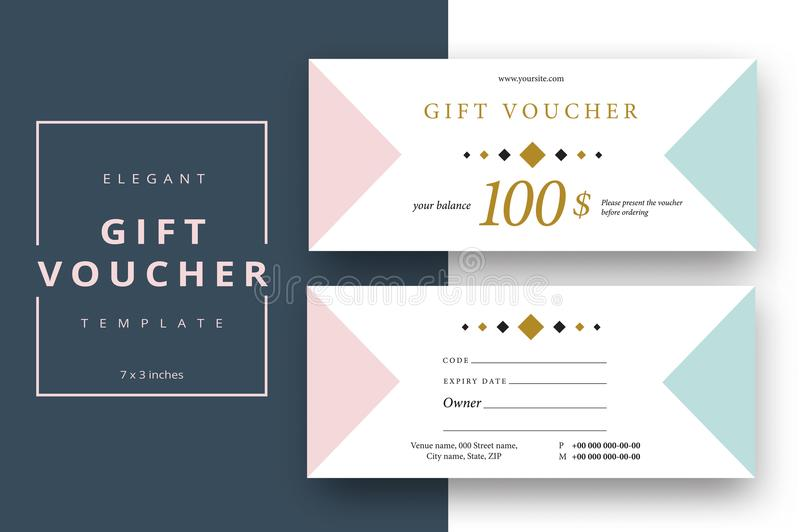 Abstract gift voucher card template. Modern discount coupon or c vector illustration
