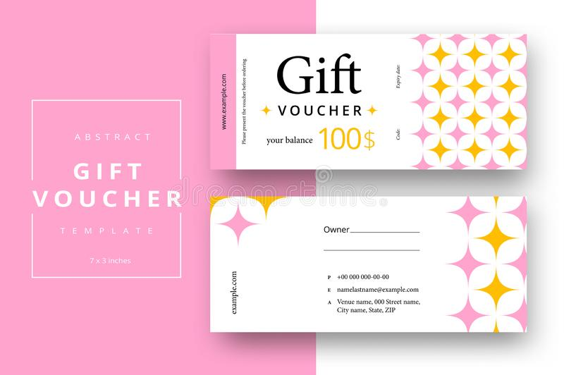 Abstract gift voucher card template. Modern discount coupon or certificate layout with geometric shape pattern. Vector fashion stock illustration