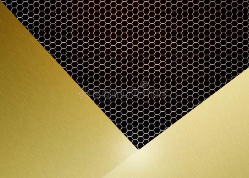 Abstract Glanzend Geborsteld Goud op Gouden Hexagonaal Metaal Mesh Background royalty-vrije illustratie