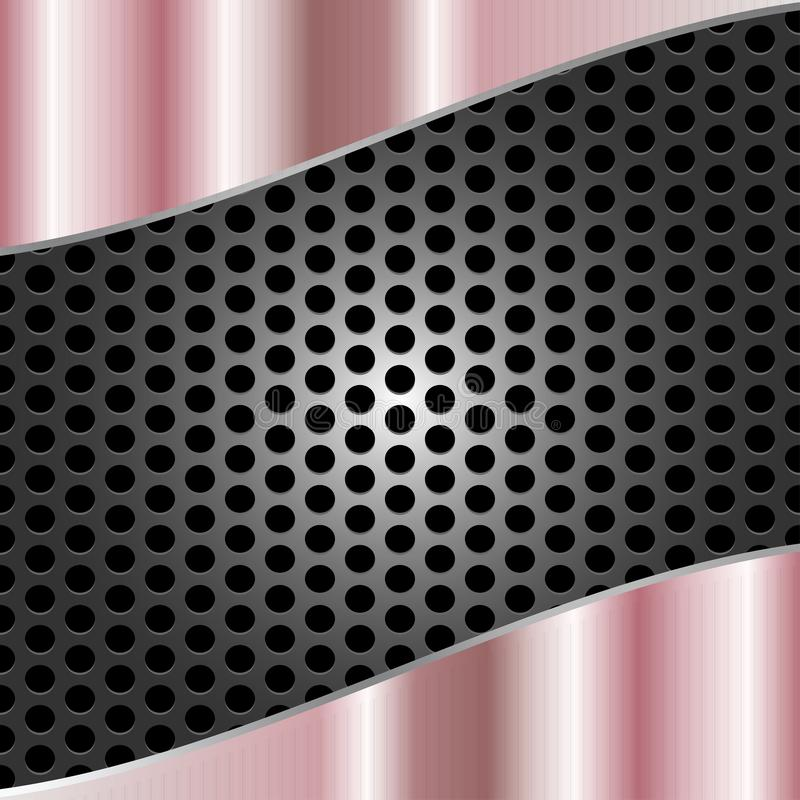 Abstract Glanzend Geborsteld Roze Metaal op Gray Metal Mesh Background stock illustratie