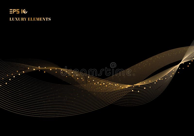 Abstract glanzend het ontwerpelement van de kleuren fonkelend gouden golf met gli royalty-vrije illustratie