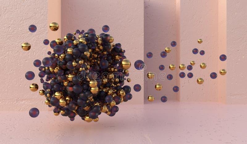 Abstract glas en gouden ballen op geometrische roze muur als achtergrond het 3d teruggeven vector illustratie