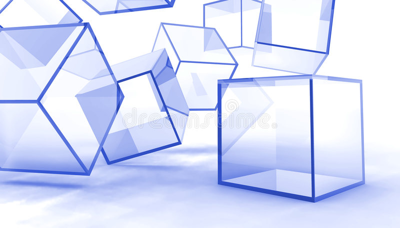 Abstract glass cubes. Abstract glass blue cubes on a white background