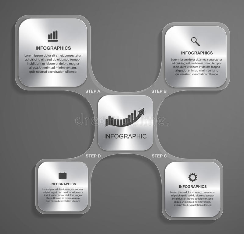 Abstract glass infographic design template in the square form. royalty free illustration