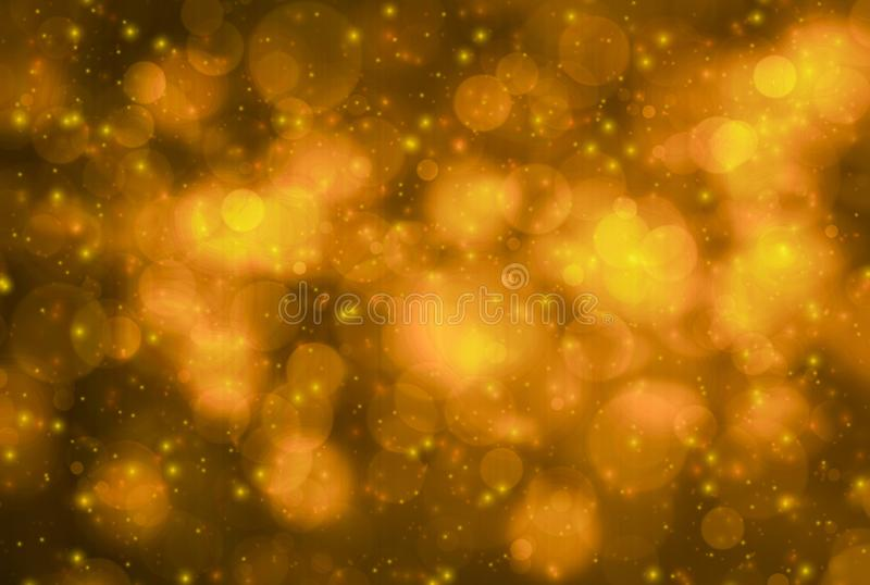 Abstract glitter gold and yellow bokeh glow in the dark on black background, banner panoramic horizontal overhead for decorating a stock illustration