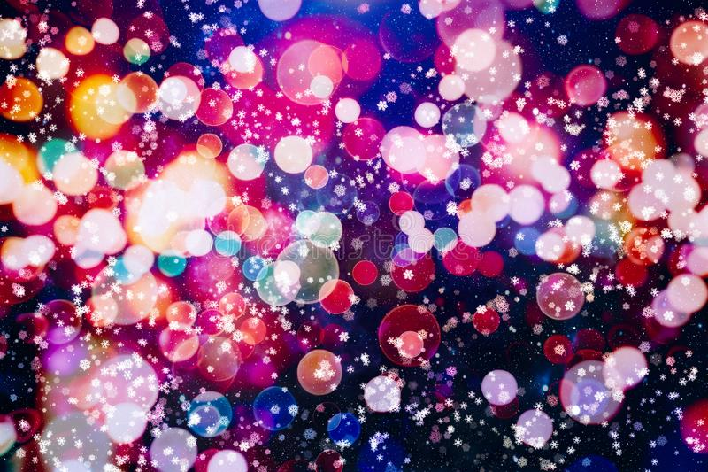 Abstract glitter lights and stars. Festive blue and white color sparkling vintage background.Blurred bokeh christmas background wi stock photo