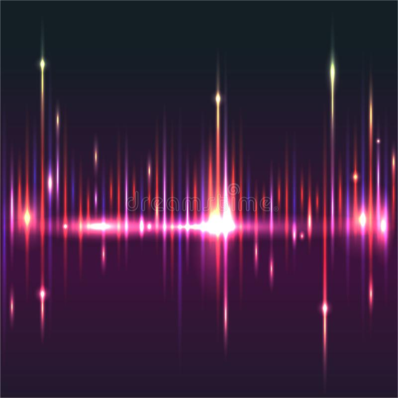 Abstract glitter sound waves light equaliser with stars . Cool background for web or print , bright waves royalty free illustration