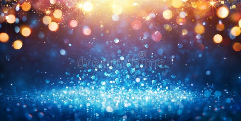 Abstract Glittering - Blue Glitter With Golden Christmas Lights. And Shiny sparkling Background stock images