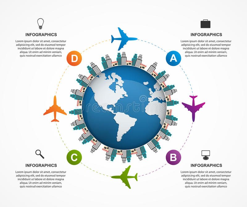 Abstract global airplane infographics design template. Can be used for websites, print, presentation, travel and tourism concept. vector illustration