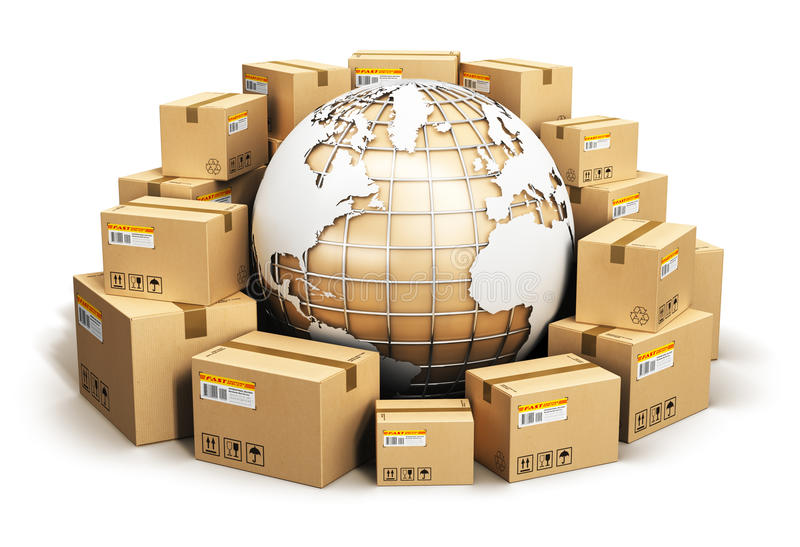 Global shipping and worldwide logistics concept royalty free illustration
