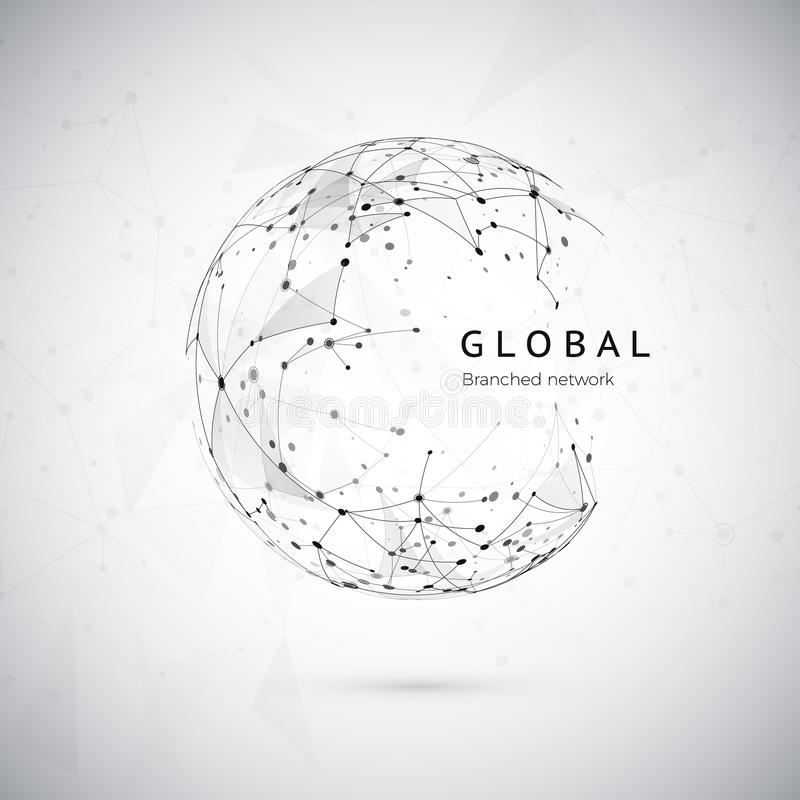 Abstract global network concept. Web structure, social nets concept, node net. Dots and connection mesh. Sphere technology cyberspace background. Vector royalty free illustration