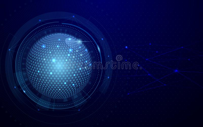 Abstract global and network futuristic technology connection concept dark blue background. Vector Illustration. vector illustration