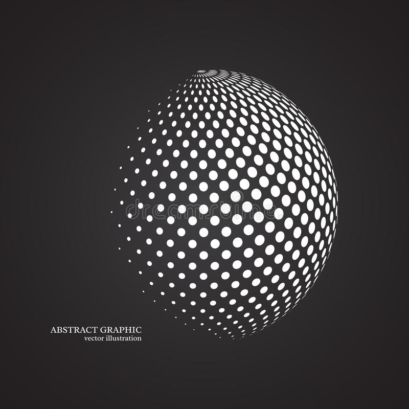 Abstract globe dotted sphere, 3d halftone dot effect. White colo. R, black background. Vector illustration royalty free illustration