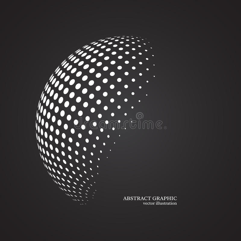 Abstract globe dotted sphere, 3d halftone dot effect. White colo. R, black background. Vector illustration stock illustration