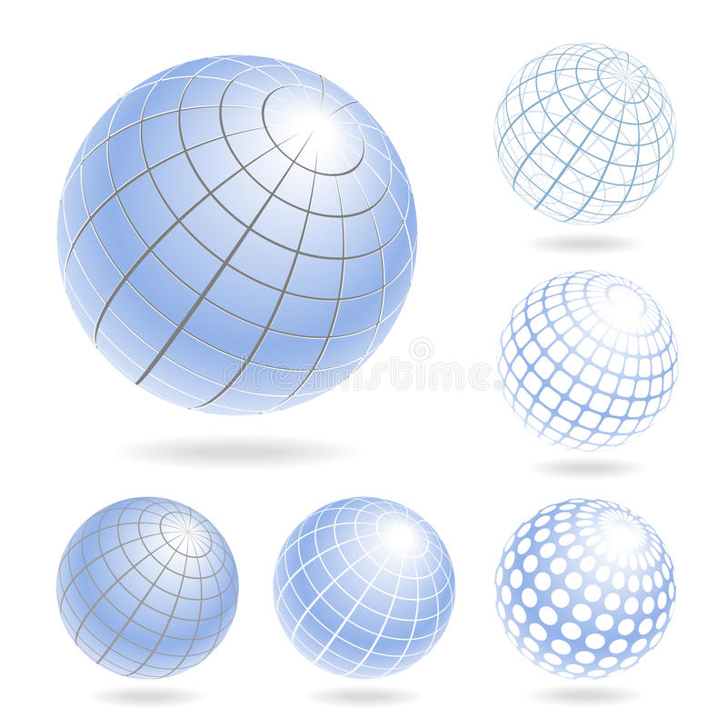 Abstract Globe Icons Set. Vector design elements of light blue globes vector illustration