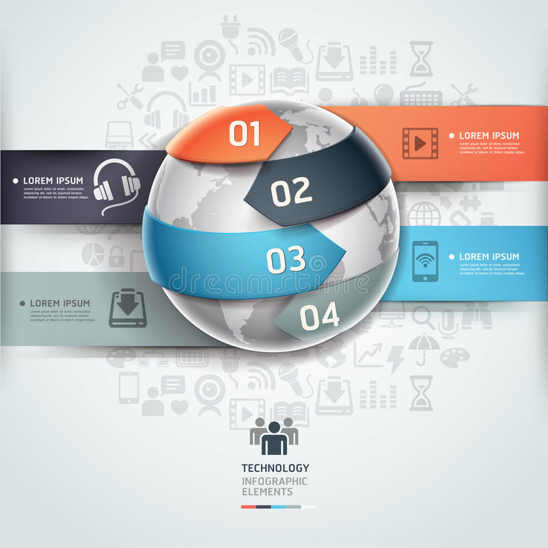 Abstract globe infographics technology template. royalty free illustration